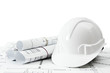Repair work. Drawings for building and helmet on white a - 80577616