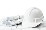 Repair work. Drawings for building and helmet on white a