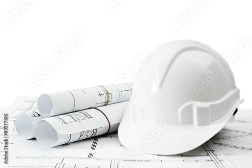 Fotobehang Wand Repair work. Drawings for building and helmet on white a
