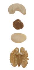 verschiedene Nusssorten - Cashew (eigentlich keine Nuss), Haseln