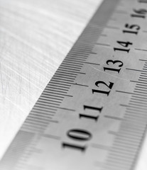 Ruler on the scratched metal background.