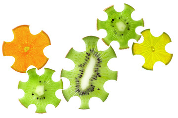 Gear drive made of fruit slices isolated on white, healthcare co