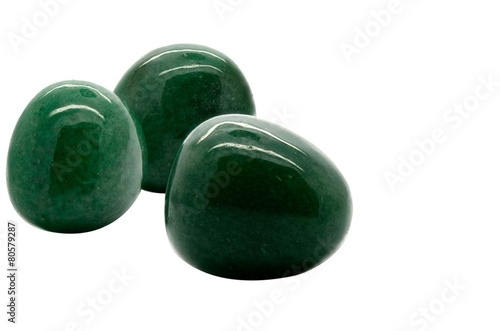 Tuinposter Edelsteen Set of a beautiful tumbled Aventurine isolated on white