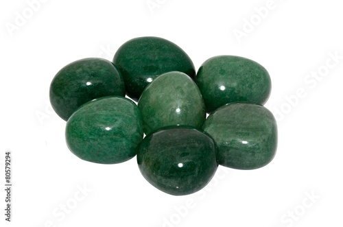 Fotobehang Edelsteen Set of a beautiful tumbled Aventurine isolated on white