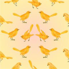 Seamless texture golden birds vector