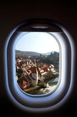 Cesky Krumlov, Czech Republic in the aircraft's porthole