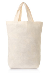 Fabric canvas full bag on white, clipping path