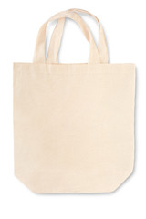 Fabric canvas bag with soft shadow on white, clipping path