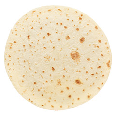 Piadina, round italian tortilla on white, clipping path