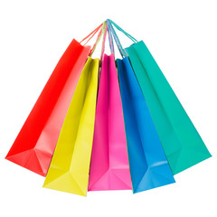 Colorful paper shopping bags on white, clipping path
