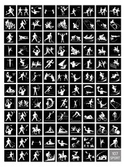 A Set of Black and White Sport Icons