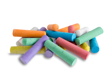 Collection of bright colorful chalk crayons
