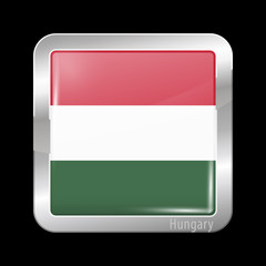 Flag of Hungary. Metal Icons