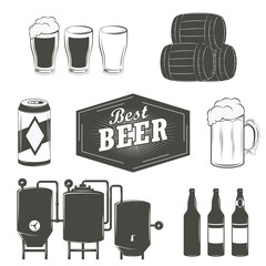 Vintage beer emblems, labels and design elements