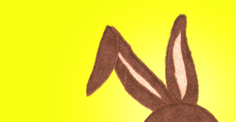 """Rabbit Ear with the idea of """"Happy Easter"""" on yellow"""