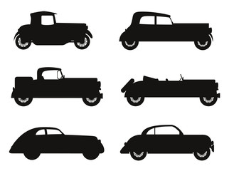 set icons old retro car black silhouette vector illustration