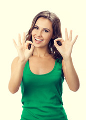 Woman showing okay gesture