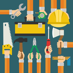 Builders Modern flat background with hand