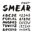 Smear hand painted font isolated