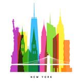 Fototapety New York landmarks bright collage