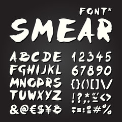 Smear hand painted font on chalkboard