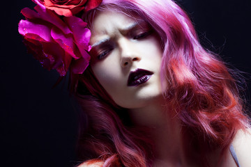 beautiful girl with pink hair, gloomy expression