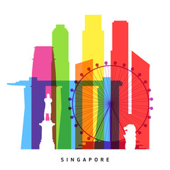 Singapore landmarks bright collage