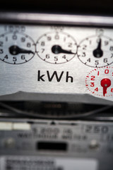 Electric meter and dials close-up
