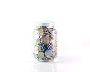 Saving money into bottle