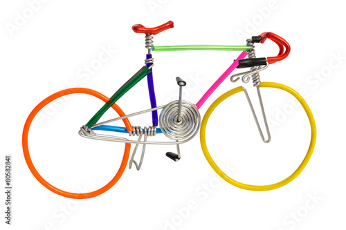 Fotobehang Fiets bicycle model toy wire isolated on white background