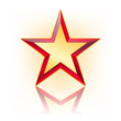 red five corner star with gold in the middle