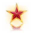 vector illustration of red star with gold