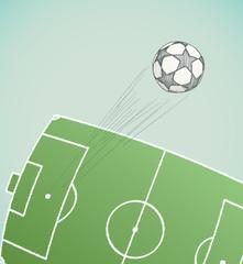 soccer ball flying over stadium hand drawn