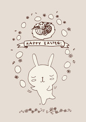 Hand drawn bunny juggling with easter eggs, flowers nest doodles