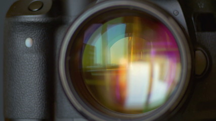 The camera panoramic shot process, close up macro view
