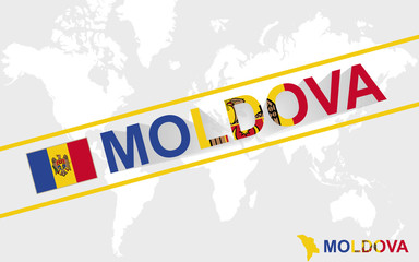 Moldova map flag and text illustration
