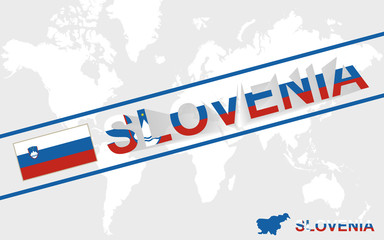 Slovenia map flag and text illustration