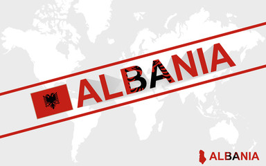 Albania map flag and text illustration