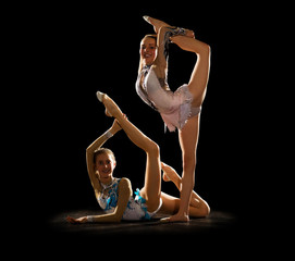 Young girls engaged art gymnastic