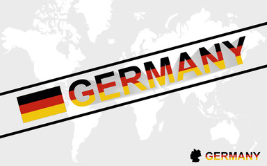 Germany map flag and text illustration