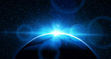"""Постер, картина, фотообои """"Planet earth with sunrise. Vector"""""""