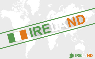 Ireland map flag and text illustration