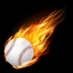 Flying baseballl on fire - falling down