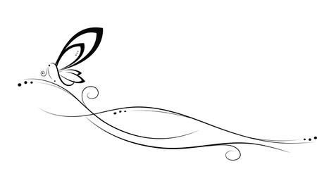 Simbolo floreale con farfalla bianco e nero