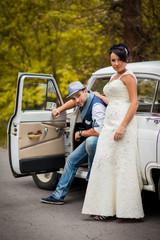 retro wedding car