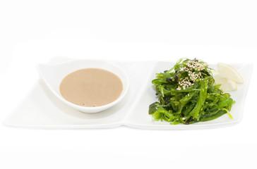 salad with exotic marine algae on a white background
