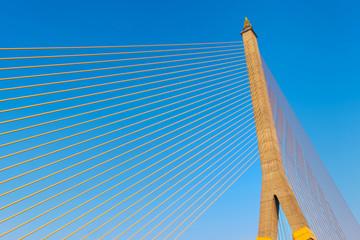 Rope bridge with blue sky in Bangkok, Thailand