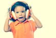 Instagram toned small girl listening to music