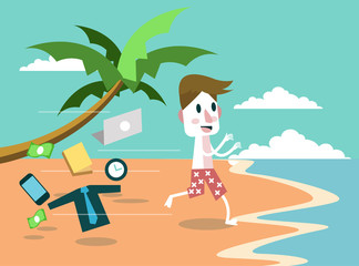 Businessman leave everything and jumping to the beach. vector