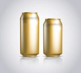 Big and small golden metal cans composition.